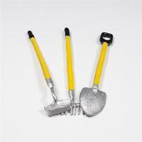 barns metal - Garden Miniatures Harrow Shovel Pitchfork Set Dollhouse Barn Tools Hoe Rake Yellow Plant