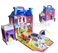 big box furniture - Doll Set Furniture big gift box play house toys luxury Foldable hand Villa doll house brinquedos casinha de boneca