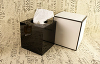 arcylic box - Limited Edition Luxury Brand CC High Gloss Arcylic Tissue Box Magnet Open Design Towel Tube Desk Decoration Wedding Gift