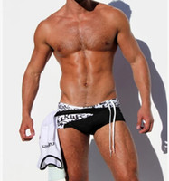 Cheap Wholesale-Free shipping! 2015 high quality Wholesale City boy hip belt avant-garde sexy low-cut boxer color matching swimming trunks