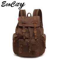 leather canvas laptop bag - Genuine Leather Canvas Backpack Men Military Tactical Backpack Girls Vintage School Backpack Women Laptop Backpack Bag Rucksack