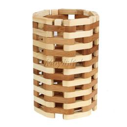 Wholesale Natural Bamboo Cooking Utensil blocak Durable Decoration Brush Pot Grid Lines