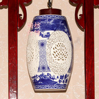Wholesale Amoy Square New Chinese style Chinese classical imitation wood bedroom Jingdezhen Ceramic Lighting lamps living room floor den