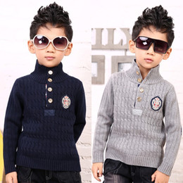 Wholesale New Autumn Winter Turn Down Collar UK Style Badge Children Sweaters for Boys Kids Clothes T2