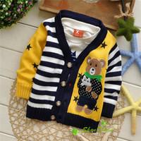 bear knitting pattern sweater - Autumn Winter new style Baby Cartoon knit cardigans sweaters Children fashion Star Bear stripe pattern sweatercoat V1393