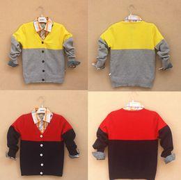 Wholesale New Arrival Children s Clothing Baby Sweaters V neck cotton Wave Cut boy cardigan roupas infantis menino kid
