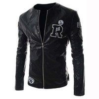 Wholesale Fall Spring Autumn New Style Short Clothing Length Jacket Men Leather Letter Print Jaqueta De Couro Motorcycle Leather Jacket Harley