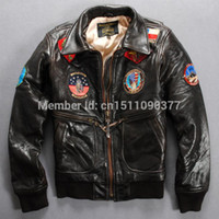 Men avirex clothing - Fall Schott cooperation paragraph avirex turn down collar sheep leather jacket flight suit male genuine leather clothing