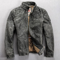 air force leather flight jacket - Fall Avirex the U S air force flight suit vintage cowhide men s collor genuine leather clothing gray and black motorcyle jacket
