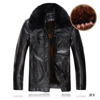 add remove - Fall Haining men s fashion leather winter paragraph add cotton and cashmere fur collar can remove large leather jacket
