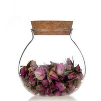 airtight jars - New style promotion transparent glass pot airtight glass tea jar with cork glass bottle pieces