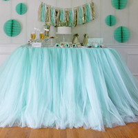 banquet table height - DIY CM Height Organza Table Skirt Cloth Reception Desk Gauze Tulle Wedding Party Banquet Decoration wd752