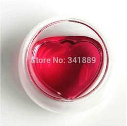 Wholesale Hotest Lovers Cups Sweet Heart shaped Double Insulated Thermal Glass small Wine Cups Best Gift High Quality On Sales