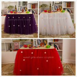Wholesale handmade festival table tutu add small flower on tulle cm height skirt for wedding party holiday