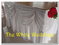 Wholesale ft wide x high Ice Silk Table Skirting with Swag for Wedding Table Decoration with metal clips white color