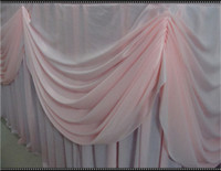 Wholesale ft wide x high knitted Ice Silk Table Silk with Swag for Wedding Table Skirting with Metal Clips Table