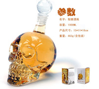 Wholesale New arrival Crystal Skeleton Head Clear Glass Bottles Crystal Skull Shot Glass wine flask bottle Novelty Hip Cup ml ml