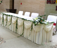 banquet items - FT L CM H Wedding Table Skirt White Ice Silk Solid Table Skirting For Party and Banquet Table Decoration Customized item