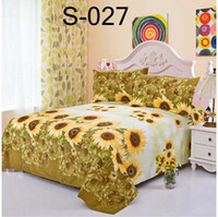 Cheap Wholesale-Sunflower open Twin Full Queen size Polyester 1pcs Sheets Bed Sheet Bedclothes Bedspread Bedding Coverlid feuille Linge de lit