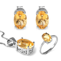 Cheap Wholesale-4.2 ct Natrual Citrine Ring Earrings Pendant Necklace Jewelry Sets Solic 925 Sterling Silver Jewelry Ova Gemstone Women Gift
