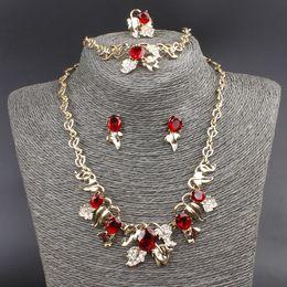 Wholesale-Hot Sale Jewelry Set 18K Gold Plated Austrian Crystal Necklace Bracelet Ring Earrings Flower Shape Jewelry Set Wedding Set