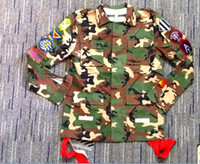 Cheap Wholesale-Chris Brown Men Camouflage Jacket Tyga camo jacket long shirt Pyrex off white slanting Camouflage stripe long-sleeve outerwear