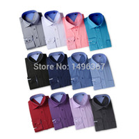 Wholesale new men s brand dress casual shirt Slim fit long sleeve dress male shirt Solid business shirt Camisas da masculina