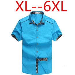 Wholesale-6xl shirt large sizes 8xl 5xl plus sizes men shirt short sleeve brand cotton dress chemise floral shirt imported clothing