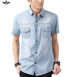 Wholesale-Men Shirt Brand Denim Shirt Male Casual Short Sleeve Fashion Cotton Solid Turndown Collar Pocket Washed Jeans Shirts