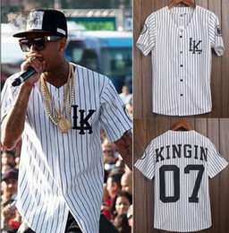 Wholesale-Tyga Last King Clothing Hip Hop Baseball Jersey Men Vertical Striped Baseball Shirt Short Sleeve LK Collarless Shirts Streetwear