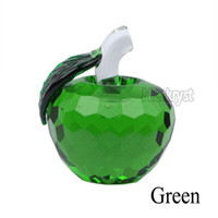 apple paperweight - D Green Crystal Faceted Apple Paperweight Wedding Gift Rainbow Maker Decorations MM M02075