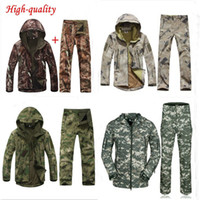 Wholesale New Spring amp Autumn men tree camouflage suit outdoor hiking hunting fishing coat windproof softshell jacket