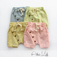 Wholesale Summer kids girls pants trousers boys pants children shorts Cozy Breathable Cotton Linen elastic waist Y