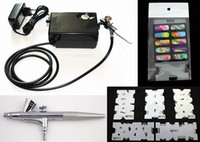 airbrush nails salon - Salon Airbrush Nail art system compressor kit with airbrush Stencil AC01BKN