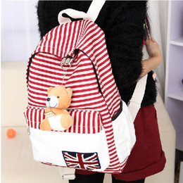 Wholesale-New Arrivals Hot Sale Striped Canvas Backpack College Fashion Girls' School Bags For Teenagers Women Rucksack With British