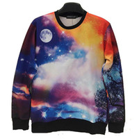 asia mountains - Mikeal Space galaxy d hoodies men Funny print cute deer smile faces moonlight mountain men d sweatshirt Asia size S M L XL