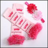 Wholesale tiara infantil Leg Warmers Headbands Crown baby leg warmer sets for girls meia Infantil Ruffled Leggings cotton bandeau T0025