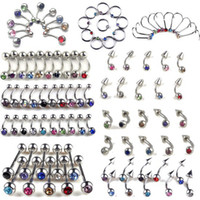 Wholesale You Choose Bulk Trendy Body Jewellery belly Tongue Bar Lip Eyebrow Nose Rhinestone Piercing Rings