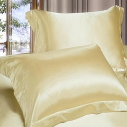 Wholesale Best Sale Double Face Envelope Silk Pillow Case Silk Pillowcase Camel White Back Side Open Pillow Cover Standard X74cm