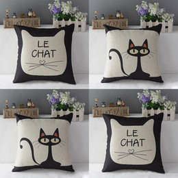Wholesale Cute Cat Print Cotton Linen Throw Pillow Car Sofa Deco Pillow Case Cushion Cover Pillowcase PY1