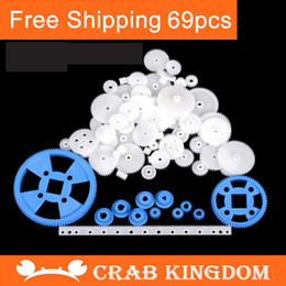 Wholesale Plastic gears set PC alot rack pulley belt Worm white gears Single and double gear DIY accessories for toys