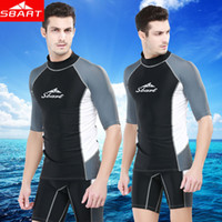Wholesale SBART Rashguard Swim Shirts Men Short Sleeve Surf Lycra Top Sunscreen Mens Rash Guard Surf Shirt Upf50 UV Diving Suit Wetsuit J