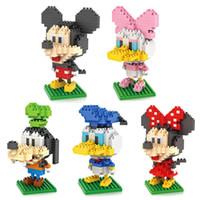 al por mayor mickey mouse torpe-Venta al por mayor-LOZ Mickey Minnie Mouse Pato Donald Daisy GOOFy Ladrillos Building Blocks inteligencia de desarrollo figura Cartoon Toy