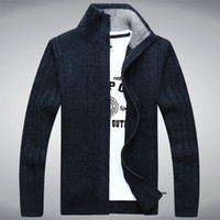 Wholesale Mens Sweater Warm Thick Velvet Cashmere Sweaters Men Winter Cardigan zipper Top stand Collar Men Casual Clothes A