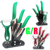 Wholesale quot quot quot inch new Red green handle Zirconia Ceramic Knife Set Knife Block peeler tools covers kitchen Fruit Utility