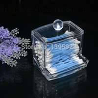 Cheap Wholesale-Clear Acrylic Cotton Swab Organizer Stick Box Cosmetic Holder Makeup Storage New