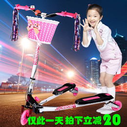 Wholesale You were the latest dual rear brake car three children frog scooter scissors flash adjustable stroller toy car