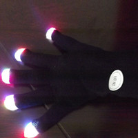 Fingerless Gloves Others Man Wholesale-2015 Hot Fashion Rainbow Flash Fingertip LED Gloves Unisex Light Up Glow Stick Gloves Mittens New