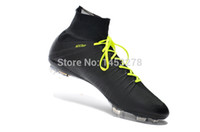 Wholesale new model of superfly soccer cleats shoes FG black and yellow