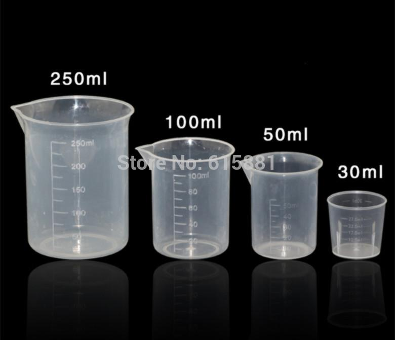 wholesale 30ml 50ml 100ml 250ml transparent plastic beaker liquid glue measuring cup tool cup. Black Bedroom Furniture Sets. Home Design Ideas